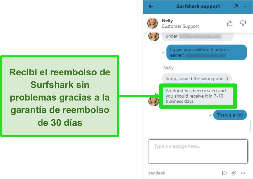 Captura de pantalla del chat en vivo de Surfshark y solicitud de reembolso