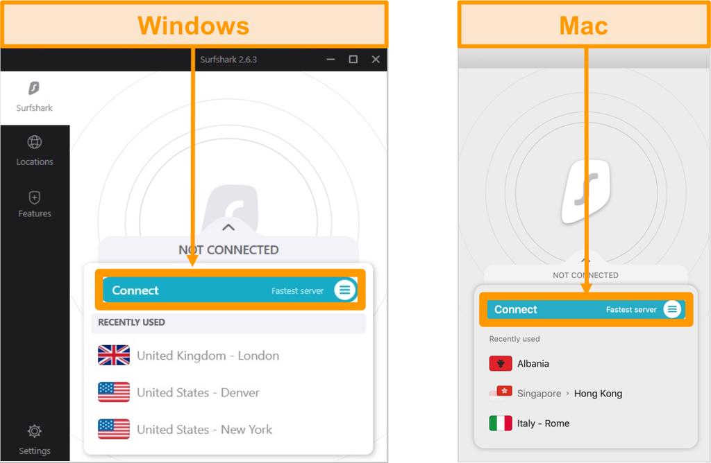 Captura de pantalla de las aplicaciones de Surfshark para Windows y Mac con el botón Conectar (servidor más rápido) resaltado