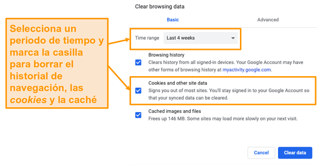 Captura de pantalla para borrar el caché y el historial de navegación en Google Chrome