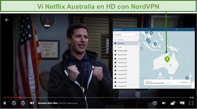 Captura de pantalla de NordVPN desbloqueando Netflix Australia mientras jugaba Brooklyn Nine-Nine