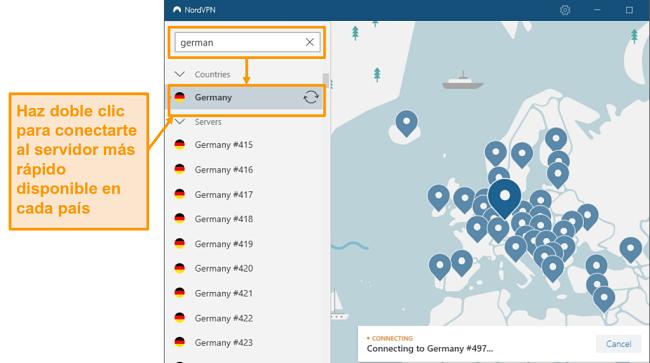Captura de pantalla de la selección del servidor de NordVPN Alemania