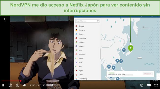Captura de pantalla de NordVPN desbloqueando Netflix Japón mientras jugaba a Cowboy Bebop