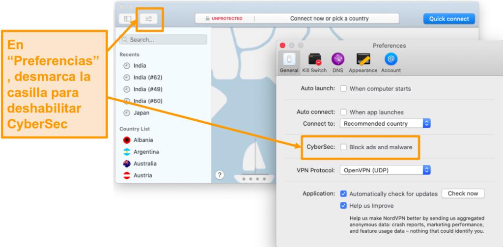 Captura de pantalla de la desactivación de CyberSec en la aplicación NordVPN