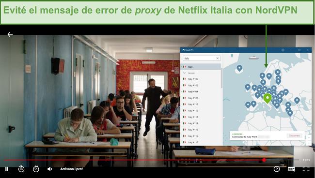 Captura de pantalla de NordVPN desbloqueando Netflix Italia mientras juega Arrivano i Prof