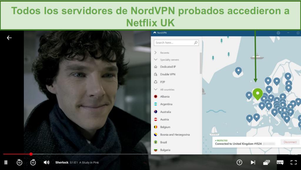 66/5000 Captura de pantalla de NordVPN desbloqueando Netflix Reino Unido mientras juega Sherlock