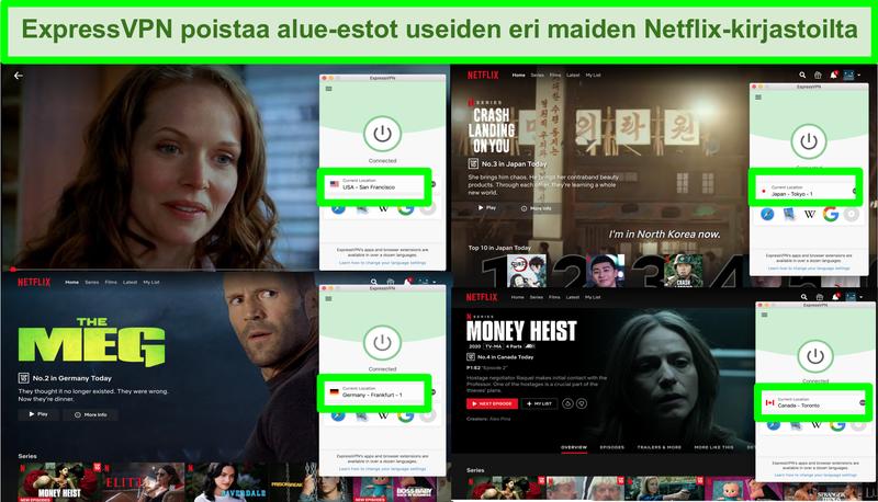 Näyttökuva, jossa ExpressVPN pystyy ohittamaan Netflix-geolohkon monilla alueilla