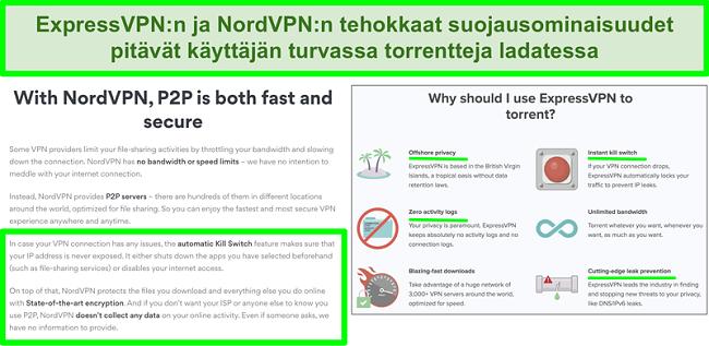 Näyttökuva NordVPN- ja ExpressVPN-verkkosivustoista, jotka osoittavat, että ne tukevat torrentia