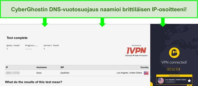 Näyttökuva DNS-vuototestistä, kun olet yhteydessä CyberGhostiin