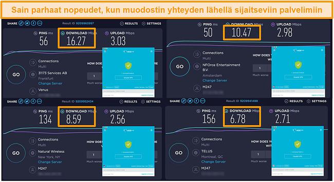Näyttökuva Hide.me VPN: stä, joka on kytketty palvelimiin Saksassa, Alankomaissa, Yhdysvalloissa ja Kanadassa, sekä nopeustestitulokset