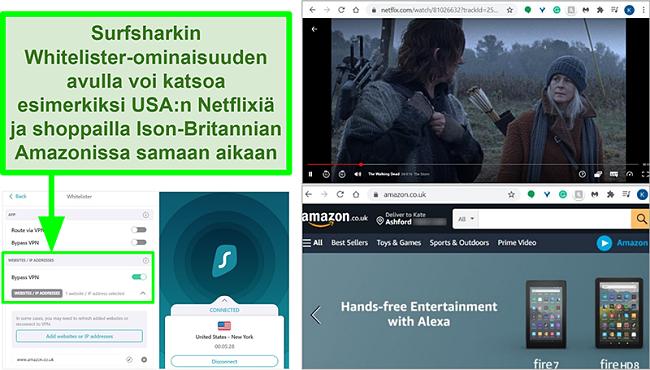 Kuvakaappaukset Netflix USA: sta ja Amazon UK: sta samaan aikaan Surfsharkin Whitelister-ominaisuuden vuoksi