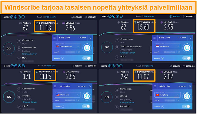 Kuvakaappaus Windscribe VPN: n ja sen palvelimien nopeustestituloksista Yhdistyneessä kuningaskunnassa, Alankomaissa, Yhdysvalloissa ja Hongkongissa