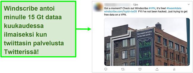Näyttökuva Windscribe VPN: ää mainostavasta Twitter-viestistä vastineeksi 15 Gt ilmaista dataa kuukaudessa