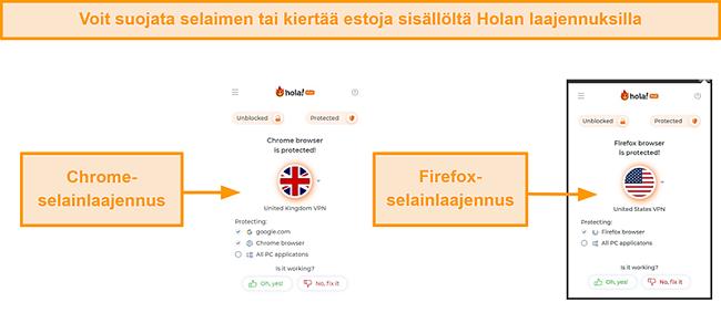 Näyttökuva Hola VPN: n Chrome- ja Firefox-selainlaajennuksista
