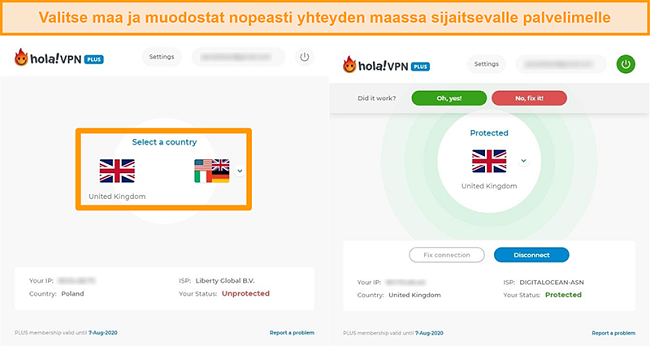 Näyttökuvat, jotka osoittavat yhteyden muodostamisen tietyn maan palvelimeen Hola VPN: ssä
