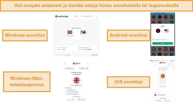 Näyttökuva Holan Windows-, Android- ja iOS-sovelluksista sekä niiden Chrome-selainlaajennuksesta Windowsille ja MacOS: lle