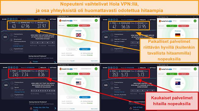 Näyttökuva Hola VPN -nopeustestistä Isosta-Britanniasta (47 Mbps), Saksasta (56 Mbps), Yhdysvalloista (7 Mbps) ja Australiasta (5 Mbps)