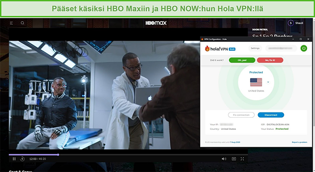 Näyttökuva Hola VPN: n vapauttamisesta Doom Patrol HBO Max -sovelluksessa