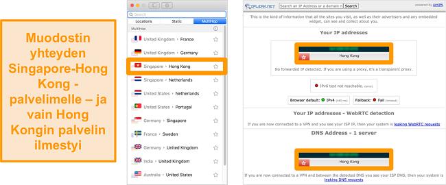 Näyttökuva Surfsharkin MultiHop-palvelimesta (kaksinkertainen VPN) Singaporelle ja Hongkongille sekä vuototestitulokset, jotka osoittavat vain Hongkongin palvelimen näkyvän