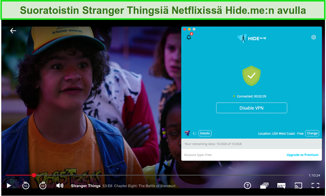 Näyttökuva hide.me-sivustosta Stranger Things -palvelun käyttämisestä Netflix USA: ssa