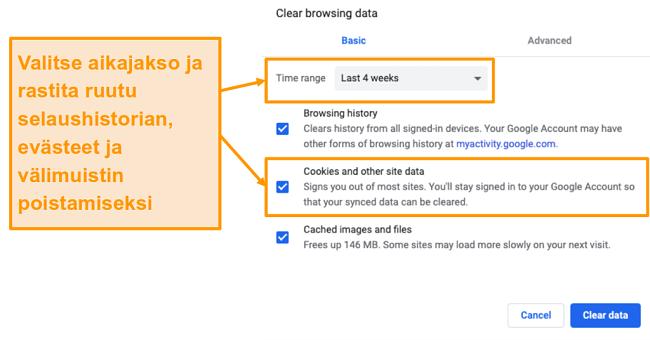 Näyttökuva välimuistin ja selaushistorian tyhjentämisestä Google Chromessa