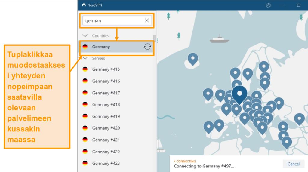 Näyttökuva NordVPN Germany -palvelimen valinnasta