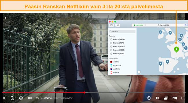Näyttökuva NordVPN: stä Netflix Francen eston avaamisesta ja The Hook Up Plan -sovelluksen suoratoistosta