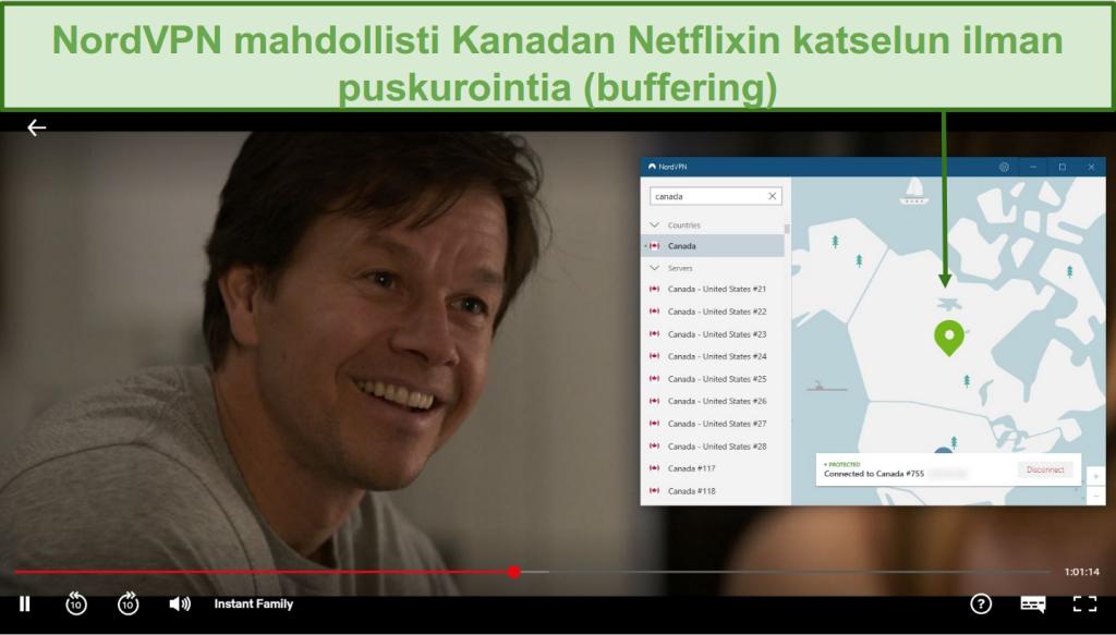 Näyttökuva NordVPN: n Netflix Kanadan eston purkamisesta Instant Family -pelin aikana