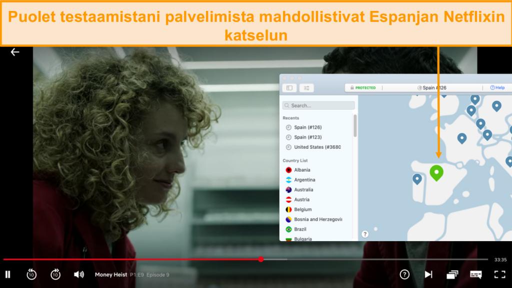 Näyttökuva NordVPN: n Netflix Spainin estosta