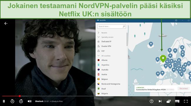 Näyttökuva NordVPN: n lukituksen avaamisesta Netflix UK: lle Sherlockia pelattaessa
