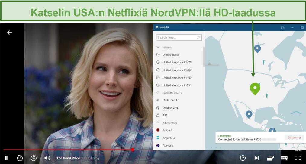 Näyttökuva The Good Place-suoratoistosta Netflixissä, kun NordVPN on kytketty yhdysvaltalaisiin palvelimiin