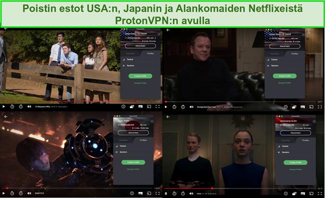 Näyttökuvat ProtonVPN: stä, joka käyttää Netflixiä Yhdysvalloissa, Japanissa ja Alankomaissa