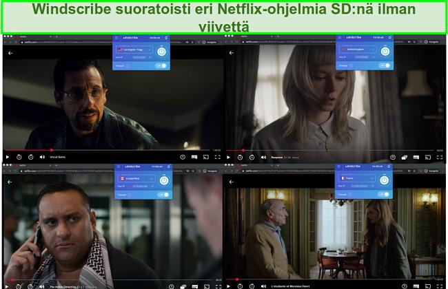 Kuvakaappaukset Windscribestä, joka käyttää Netflixiä Yhdysvalloissa, Isossa-Britanniassa, Kanadassa ja Ranskassa