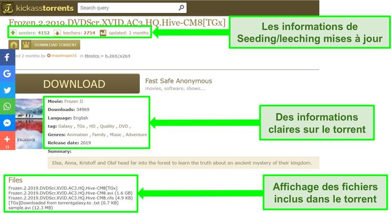 Capture d'écran de la page de téléchargement de Kickass Torrents