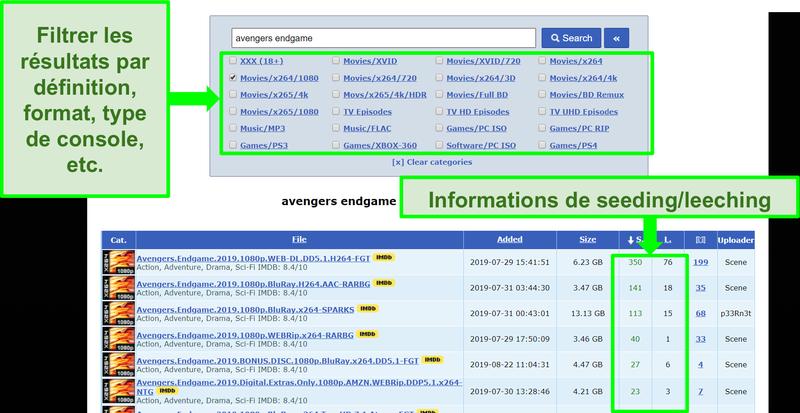 Capture d'écran de la page de recherche RARBG