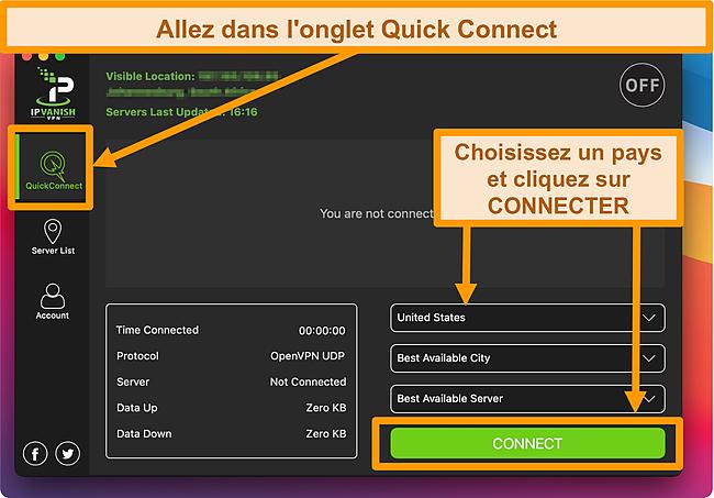 Capture d'écran de l'application IPVanish sur le bureau.
