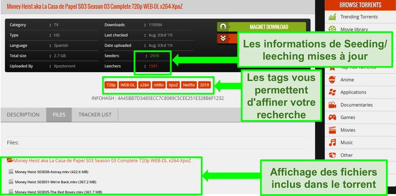 Capture d'écran de la page de téléchargement de 1337xTorrents