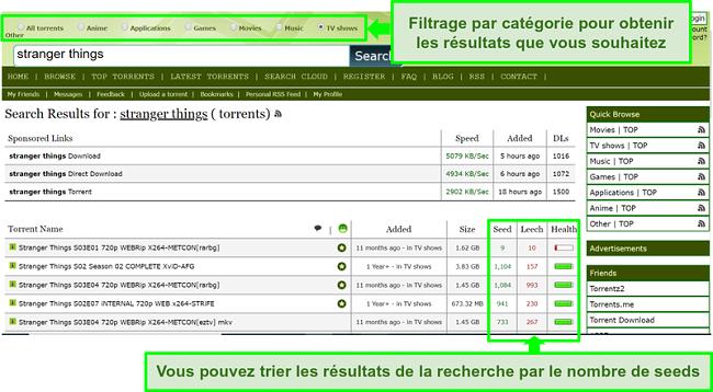 Capture d'écran de la page de recherche de Limetorrents