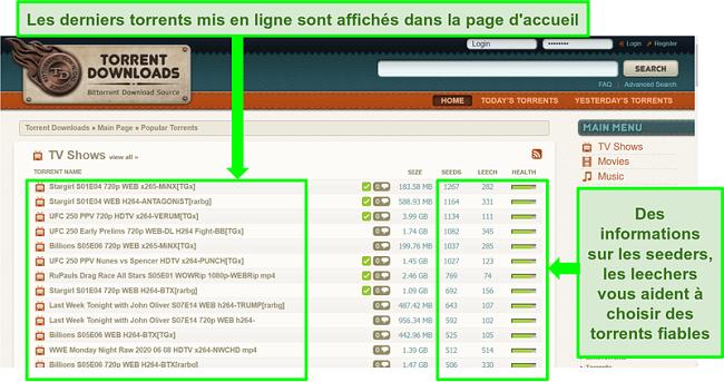 Capture d'écran de la page de destination de TorrentDownloads