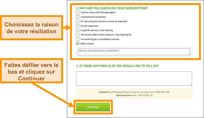 Capture d'écran du motif d'annulation IPVanish sur le bureau.