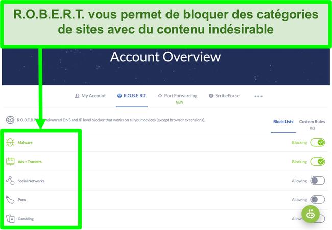 Capture d'écran de la page des paramètres de Winscribe affichant des options pour bloquer les publicités, les logiciels malveillants et les catégories de sites Web