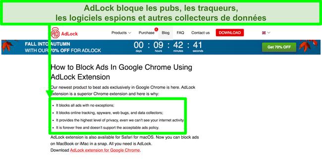 Capture d'écran du site Web AdLock indiquant qu'il n'a pas de politique relative aux