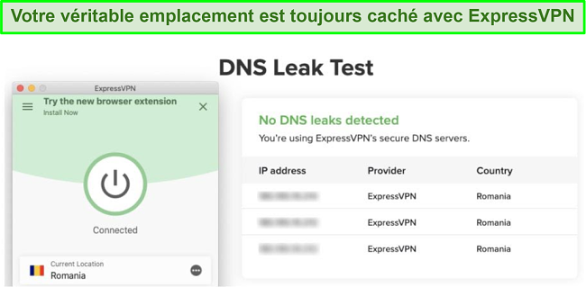 capture d'écran d'un test de fuite DNS réussi avec ExpressVPN pour Kodi