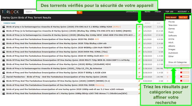 Capture d'écran de faux liens sur TorLock