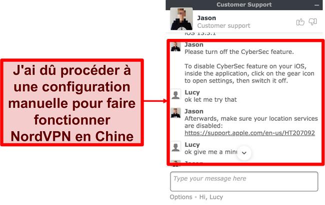 Capture d'écran d'un chat avec NordVPN demandant des conseils sur la façon de faire fonctionner l'application en Chine