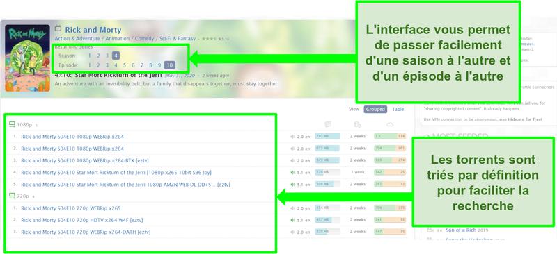 Capture d'écran de la page de destination de Zooqle