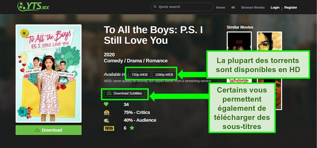 Capture d'écran de la page de destination YTS