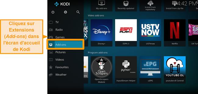 capture d'écran de la procédure d'installation de l'addon kodi officiel, étape deux, cliquez sur les addons