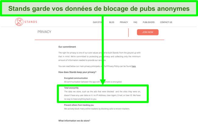 Capture d'écran du site Web de Stands indiquant que les données dont il dispose sur les publicités bloquées ne sont jamais liées aux informations personnelles des utilisateurs