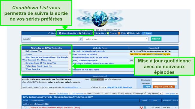 Capture d'écran de la page de destination EZTV