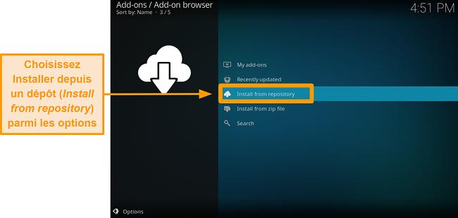 capture d'écran de la procédure d'installation de l'addon kodi officiel, étape quatre, cliquez sur installer à partir du référentiel